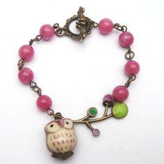Antiqued Brass Branch Porcelain Owl Jade Bracelet