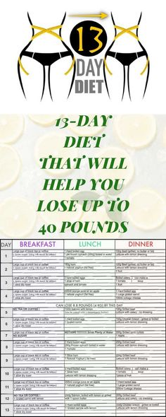 ! A 13-DAY DIET THAT WILL HELP YOU LOSE UP TO 40 POUNDS