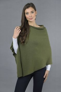 Pure Cashmere Knitted Asymmetric Poncho Wrap in Loden Green front 1 Cashmere Poncho, Winter Springs, One Size Fits All, Tunic Tops, Pure Products, Green, How To Make, Color, Shopping