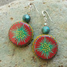Hand-painted bottle cap earrings with turquoise beads