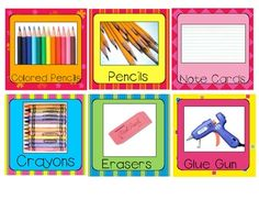 Included are (approx.) 3.5x3.5 labels for your classroom supply closet.  Print on card stock and laminate for classroom organization.  These are a ...