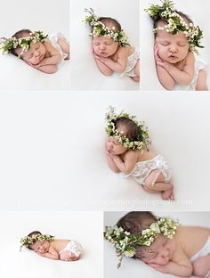 Newborn Baby Girl + Floral Crown Natural Newborn Photography B Couture Photography