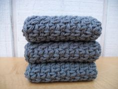 Washcloths / Dishcloths - Set of three crocheted Washcloths - pinned by pin4etsy.com