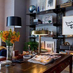 Unique shelves w/ traditional desk | David Scott Design | houzz.com...