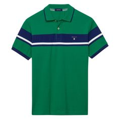 GANT - Chest Stripe Pique Polo Lemon for Men's | Official Site