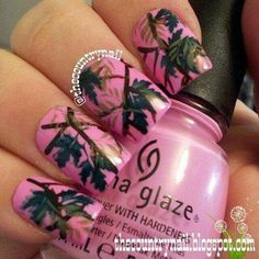 """Maybe for a wedding one day:)Pink Mossy Oak Nails base is China Glaze """"Dance Baby"""" pink, and for the designs, a combination of acrylic paints, stamping images, and green polish. Fabulous Nails, Gorgeous Nails, Love Nails, How To Do Nails, Pretty Nails, Sassy Nails, Mossy Oak Nails, Pink Camo Nails, Camouflage Nails"""