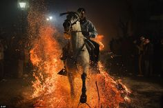 Fiery: A man rides his horse through the hot embers as part of the 'Las Luminarias' Festival held in honour of the patron saint of animals