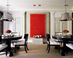 Visite d'un appartement classique modernisé : dining-room-decorating-ideas-art-painting-red-abstract-clas
