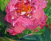 PEONY JAZZ 5 x 7 original oil painting on canvas board by Yvonne Wagner.  3 in this 5 x 7 series for 150.00. Frame optional.