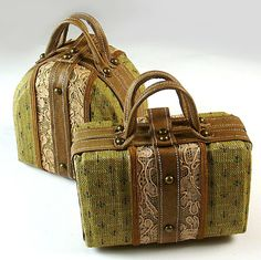 How to make tiny working luggage for #dolls. Fabric and leather doll suitcases and trunks tutorial.