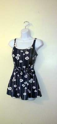 FANTASTIC Navy & White FLOWERED One Piece by BeauMondeVintage, $38.00