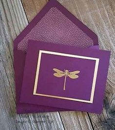 handmade notecard ... purple with gold .. single gold embossed dragonfly ... very elegant ....