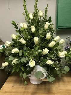 Pin by Mina bagher on flower arrangement Funeral Floral Arrangements, Tropical Flower Arrangements, Church Flower Arrangements, Beautiful Flower Arrangements, Beautiful Flowers, White Flowers, Altar Flowers, Church Flowers, Funeral Flowers