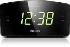 Philips AJ3400 Radio Réveil avec Tuner FM, Grand Ecran, Double Alarme, Batterie…