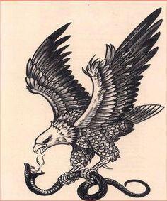 Black and white eagle killing a snake tattoo design - -. - Black and white eagle killing a snake tattoo design – -… – black and white eagle kill - Simbolos Tattoo, Tattoos 3d, Hawk Tattoo, Tribal Sleeve Tattoos, Eagle Tattoos, Tatoo Art, Celtic Tattoos, Snake Tattoo, Wolf Tattoos