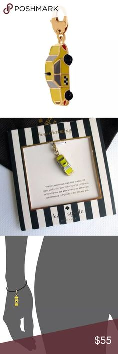 """Kate Spade NY How Charming NYC Yellow Taxi Charm Gold-tone charm of 3D taxi with colored enamel fill Charm comes packaged on kate spade new york card stock with individual saying, This one states """"There's nothing like the magic of New York City. Whether you're uptown, downtown or anywhere in between, everything is possible. So dream big."""" Comes with KSNY Dust Bag. 1- 1 1/4"""" drop; 3/8""""-3/4"""" width. Lobster clasp closure. 12k-gold plate/glass/enamel. Perfect Condition! New with dustbag. I only…"""
