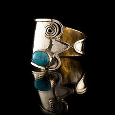 Tribal Swirl Brass Ring with Turquoise Stone, Tribal Ring, Gemstone Ring, Stone Ring, Tribalik, Turquoise Jewellery (Code 9) by TRIBALIK on Etsy