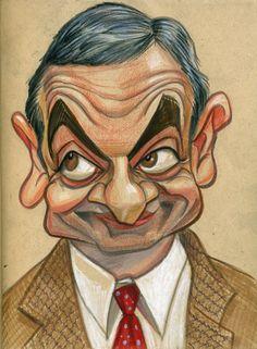 Rowan Atkinson by Zack Wallenfang ✤ Cartoon People, Cartoon Faces, Cartoon Art, Funny Caricatures, Celebrity Caricatures, Cartoon Sketches, Anime Drawings Sketches, Character Drawing, Character Design