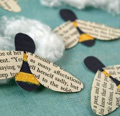 Bees made using recycled paper accents - Bizzy Bees. $12.00, via Etsy.  http://www.etsy.com/listing/49231082/bees-recycled-paper-accents-bizzy-bees #bees #craft