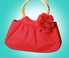 Mis Cositas Handmade Red Polka Dot Vintage Tote with Bamboo Handle and Silk Rose Pin