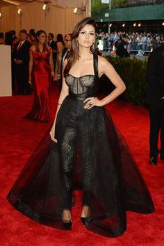 Pants are formal! Nina Dobrev proved the point in a Monique Lhuillier style at last night's Met Gala