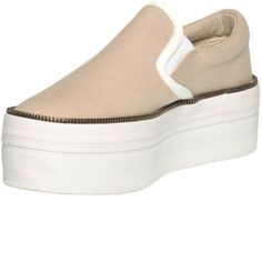 JC Play Slip-on Canvas Sneakers ($21) ❤ liked on Polyvore featuring shoes, sneakers, pull-on sneakers, jeffrey campbell shoes, slip-on sneakers, platform slip on shoes and platform slip on sneakers