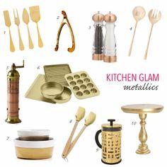 Glam Kitchen Essentials: Metallics | A Bar Cart in Brooklyn