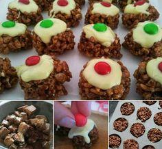 Mars bar choc crackle 'puddings'