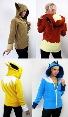 Eeveelution pokemon hoodies from Rarity's Boutique. I Love Eevee! Goodies Manga, Geek Mode, Eevee Evolutions, Pokemon Eeveelutions, Charmander, Cosplay Costume, Geek Chic, Look Cool, Swagg