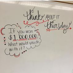 This would be cool if the question pertained to the lesson somehow. Creative way to start class. Make it Monday, talk about it Tuesday, work it out Wednesday, think about it Thursday, free draw it Friday? School Classroom, Classroom Activities, Future Classroom, School Kids, Morning Board, Morning Activities, Daily Writing Prompts, Bell Work, Responsive Classroom