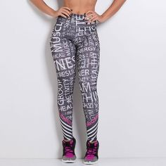 Legging Fitness Sublimada Mix Letras - honeybe