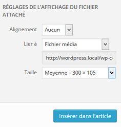 Réglage options images insérées dans WordPress