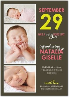 Girl Photo Birth Announcements A Good Day - Front : Medium Pink
