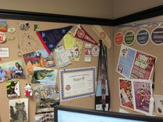 This is @Teal Betz's bulletin board in her office. It's got the perfect mix of IU memorabilia, fun buttons and souvenirs! ;-)