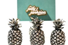 Pineapple Place Card Holders Silver Place Card by JudysJunktion