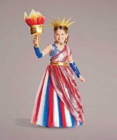 Lady Liberty Costume For Girls - exclusively ours - Oh, say can you be . . . a star-spangled Lady Liberty! You'll dazzle in this red, white and blue gown with sparkle tulle skirt and striped, sequin-covered overlay.