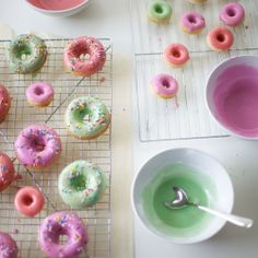 soft peppermint greens, with soft lavender and pink - fab combo