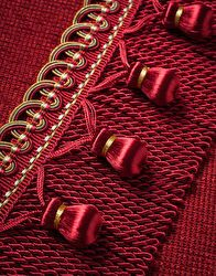 RED -- Samuel and Sons Passementerie Luxury Curtains, Red Curtains, Inkle Weaving, Hand Weaving, Welcome To Christmas, Samuel And Sons, Curtain Material, Textured Yarn, Red Ornaments