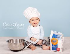 Adorable for photos: BABY Chef Hat and APRON SET - Photo Prop - Costume - fits baby's and Toddlers up to 2 yrs. $14.00, via Etsy.