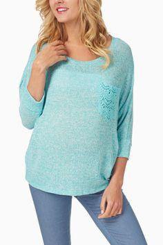 Aqua-Knit-Crochet-Pocket-Maternity-Top #maternity #fashion