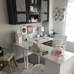 My new L shaped Ikea Desk Reveal Nice 43 Extraordinary Small Home Office Design Ideas With Traditional Themes. Ikea Office, Home Office Space, Home Office Desks, Office Furniture, Small Office Spaces, Home Offices, Home Office White Desk, Small Office Decor, Furniture Ideas