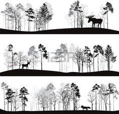 ensemble de paysages différents avec des pins et des animaux sauvages, des silhouettes de la forêt avec des cerfs, wapitis, le renard, tiré par la main illustration vectorielle