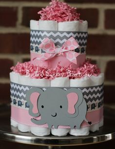Mini 2 Tier Elephant Diaper Cake Pink Gray by BabeeCakesBoutique