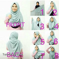 Best Ideas how to wear a scarf around your neck turbans Square Hijab Tutorial, Simple Hijab Tutorial, Hijab Style Tutorial, Hijab Style Dress, Modest Fashion Hijab, Casual Hijab Outfit, How To Wear Hijab, How To Wear Scarves, Stylish Hijab