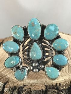 NAVAJO -TURQUOISE MOUNTAIN ~ TURQUOISE ~NAJA ~STERLING ~RING~GERALDINE JAMES | eBay