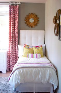 Inga bedroom colors. I love the muted walls and then vibrant pillows and curtains.