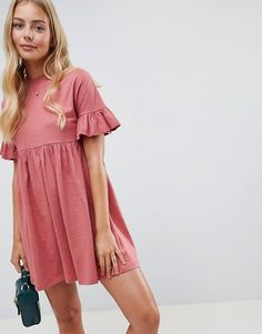 Buy ASOS DESIGN cotton slubby frill sleeve smock dress at ASOS. With free delivery and return options (Ts&Cs apply), online shopping has never been so easy. Get the latest trends with ASOS now. Casual Dresses For Women, Cute Dresses, Casual Outfits, Maxi Dresses, Elegant Dresses, Dress Prom, Woman Dresses, Dresses Dresses, Party Dress