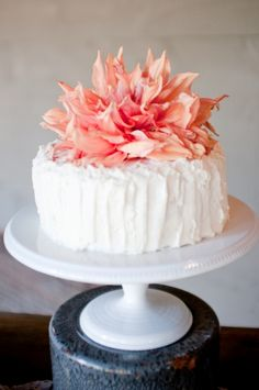 "This is very unique & simple for the bride who wants to ""cut the cake"" but isn't really serving cake to her guests. This cake is simple but stands out on it's own. Would make a beautiful small wedding cake for the bride & groom :-)"