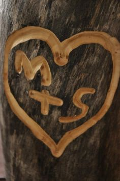 "Andrew refuses to carve into trees, but I've always wanted to do this! but using a light brown paint and ""wood"" decoration would be the perfect compromise for a fall-themed wedding decoration <3"