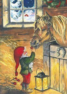 Anki :: Nro 1 Joulukortti Pukkisarja, kuvat Tarja Senne - Tonttu ja hevonen - Joulukortit - Kortit Gnomes, Troll, Christmas Cards, Painting, Postcards, Image, Charms, Art, Christmas E Cards